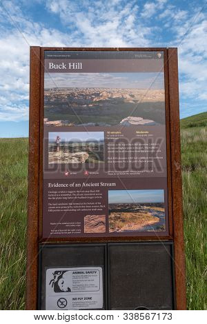 Theodore Roosevelt National Park, United States: July 3, 2018: Buck Hill Trail Sign In Theodore Roos
