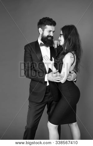 Art Experts Of Bearded Man And Woman. Romantic Date For Art Expert Couple. Couple In Love On Date. E