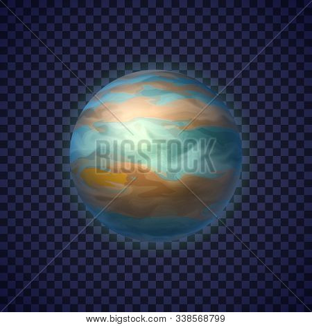 Jupiter Gas Giant Planet On Transparent Background. Colorful Fifth Planet Of Solar System. Galaxy Di