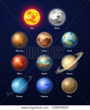 Colorful Sun, Moon And Nine Planets Of Solar System On Deep Blue Space Background. Galaxy Discovery