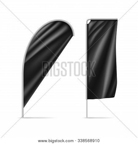 Black Drop And Rectangular Flags Isolated On White. Realistic Expo Banners For Outdoor Presentation