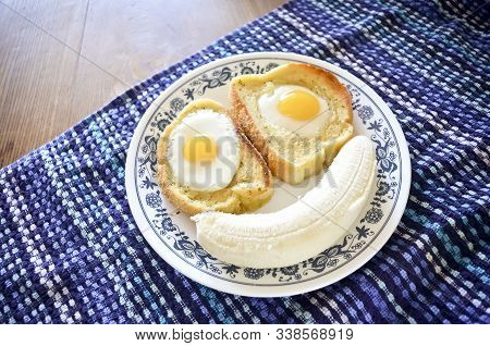 Silly Breakfast Face With Toast, Eggs, And Banana