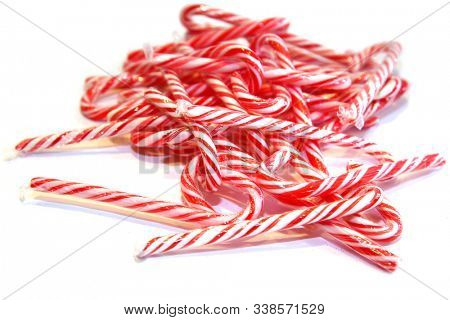 Candy Canes.  Christmas Peppermint flavored Candy Canes. Christmas Candy.  isolated on white. room for text. clipping path.