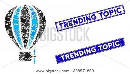 Mosaic Aerostat Balloon Pictogram And Rectangular Trending Topic Watermarks. Flat Vector Aerostat Ba