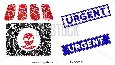 Mosaic Alien Shop Pictogram And Rectangle Urgent Stamps. Flat Vector Alien Shop Mosaic Pictogram Of