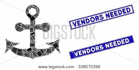 Mosaic Anchor Pictogram And Rectangle Vendors Needed Seal Stamps. Flat Vector Anchor Mosaic Pictogra
