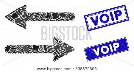 Mosaic Arrows Exchange Horizontal Icon And Rectangle Voip Seals. Flat Vector Arrows Exchange Horizon