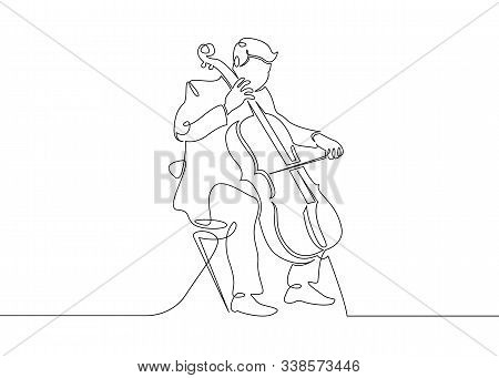 A Continuous Single Drawn Single Line Of A Musician Is Played By A Cellist Man. Classical Music, Con