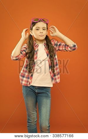 Trendy Goggles Perfect For Her Style. Cute Small Child With Fashion Goggles Accessory. Adorable Litt