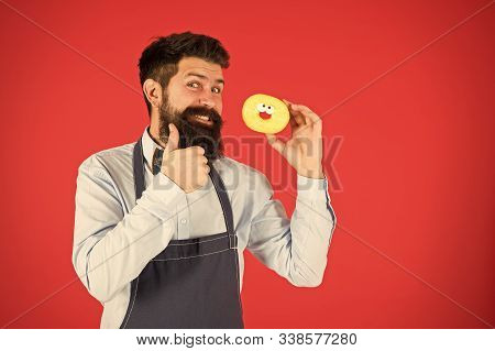 Baker Hold Donut. Funny Hipster. Sweet Donut. Chef Man In Cafe. Diet And Healthy Food. Doughnut Diet