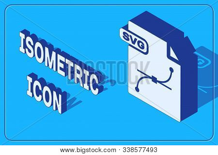 Isometric Svg File Document. Download Svg Button Icon Isolated On Blue Background. Svg File Symbol.