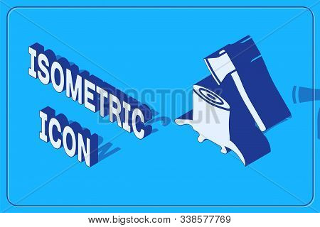 Isometric Wooden Axe In Stump Icon Isolated On Blue Background. Lumberjack Axe. Axe Stuck In Wood. V