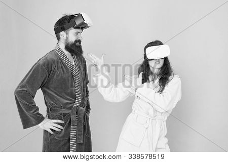 Create Your Reality. World Of Immagination. Family Couple Wear Vr Glasses. Girl And Man Hipster Rela