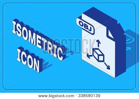 Isometric Obj File Document. Download Obj Button Icon Isolated On Blue Background. Obj File Symbol.