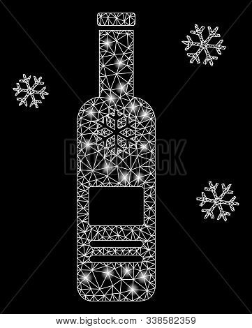 Glossy Mesh Cold Vodka Bottle With Sparkle Effect. Abstract Illuminated Model Of Cold Vodka Bottle I