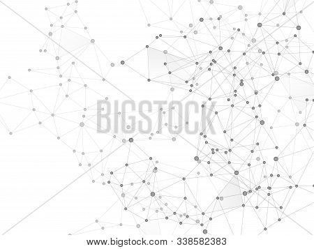 Geometric Plexus Structure Cybernetic Concept. Network Nodes Greyscale Plexus Background. Dots Nodes