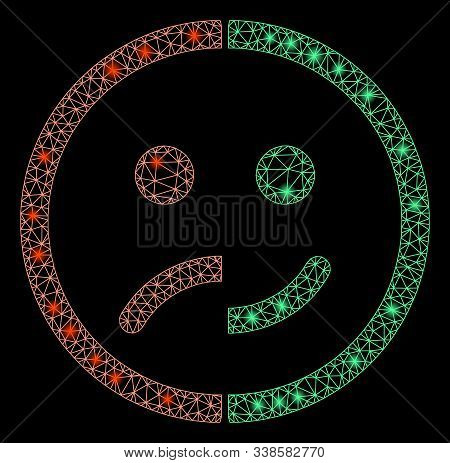 Glossy Mesh Bipolar Emotion With Glare Effect. Abstract Illuminated Model Of Bipolar Emotion Icon. S