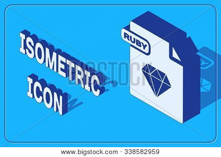 Isometric Ruby File Document. Download Ruby Button Icon Isolated On Blue Background. Ruby File Symbo
