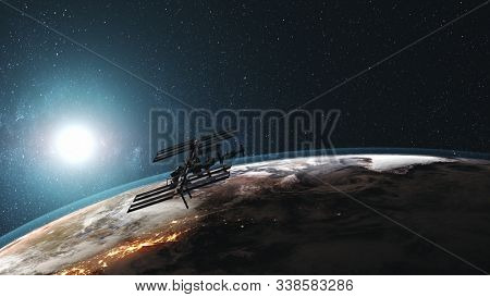 ISS rotate Earth atmosphere distant exploration. International Space Station against realistic night illuminated mainland. Sunrise over planet orbit. 3d animation. Elements of media furnished by NASA