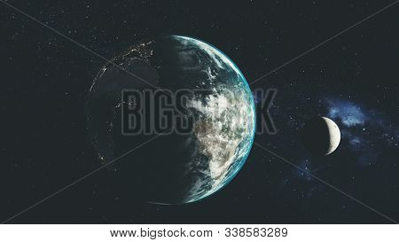 Planet Earth Spin Moon Orbit Space Sun Beam Glow. Star Open Galaxy Constellation Satellite View Radiance Milky Way Light Space Travel Concept 3D Animation