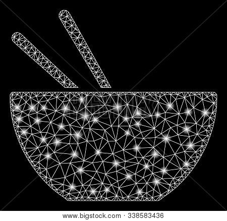 Bright Mesh Asian Food With Glow Effect. Abstract Illuminated Model Of Asian Food Icon. Shiny Wire C