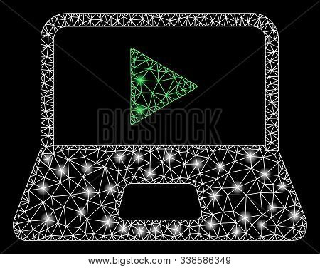 Flare Mesh Webcast Laptop With Sparkle Effect. Abstract Illuminated Model Of Webcast Laptop Icon. Sh