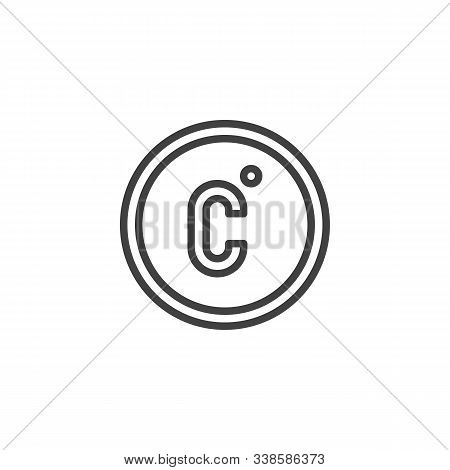Celsius Temperature Line Icon. Linear Style Sign For Mobile Concept And Web Design. Celsius Button O