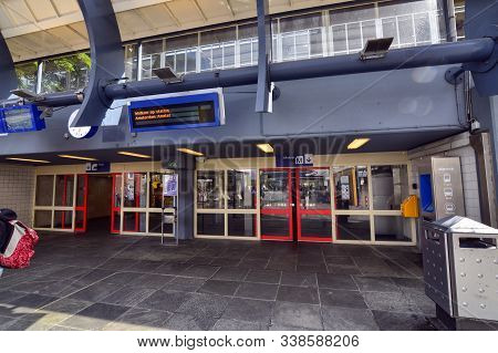Amsterdam, Holland, August 2019. A Subway Station On The Surface. Amstel Stop. M Logo On A Blue Back