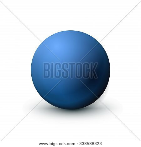 Blue Sphere, Ball Fashionable Classic Blue Color. Matt Mock Up Of Clean Realistic Orb, Icon. Geometr