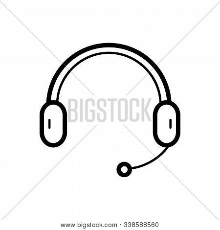 Black Line Icon For Headphone Earphone Mike Support