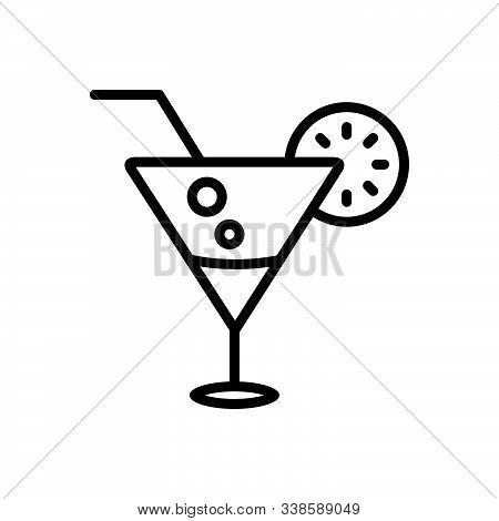 Black Line Icon For Beverage Cocktail Lime Kamikaze Beverage Liqueur