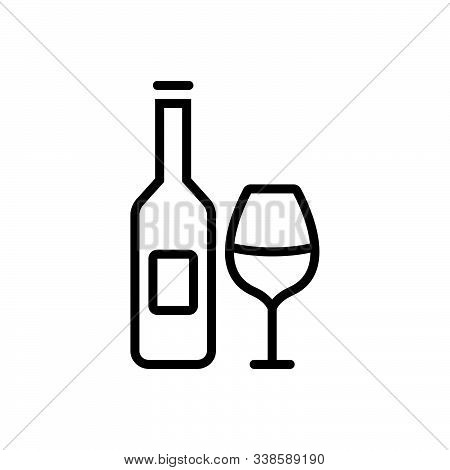 Black Line Icon For Beverage Wine Bottle Glass Alcohol  Liqueur