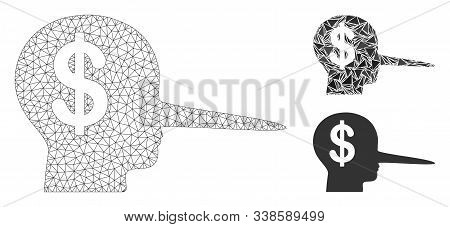 Mesh Financial Scammer Model With Triangle Mosaic Icon. Wire Carcass Polygonal Mesh Of Financial Sca