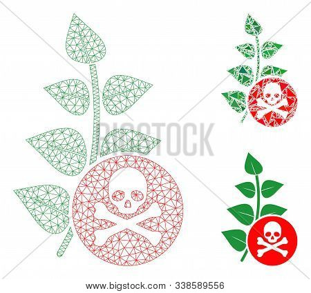 Mesh Herbicide Toxin Model With Triangle Mosaic Icon. Wire Carcass Polygonal Mesh Of Herbicide Toxin