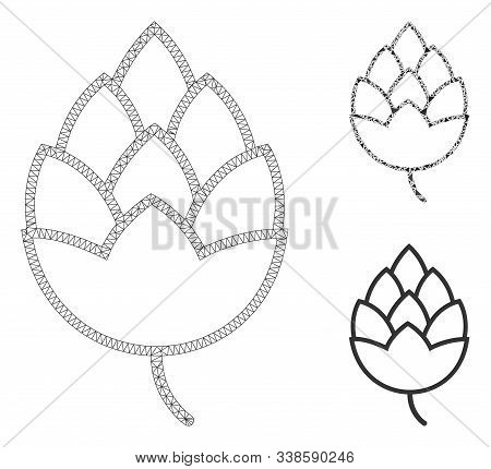 Mesh Hop Bud Model With Triangle Mosaic Icon. Wire Carcass Triangular Mesh Of Hop Bud. Vector Mosaic