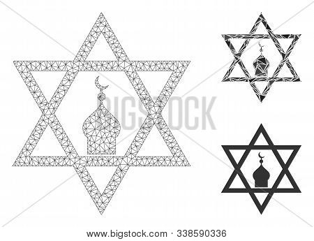 Mesh Zion Model With Triangle Mosaic Icon. Wire Carcass Polygonal Mesh Of Zion. Vector Composition O