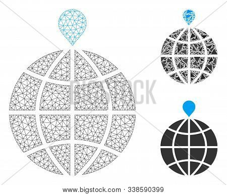 Mesh North Pole Model With Triangle Mosaic Icon. Wire Carcass Triangular Mesh Of North Pole. Vector