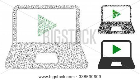 Mesh Webcast Laptop Model With Triangle Mosaic Icon. Wire Frame Triangular Network Of Webcast Laptop