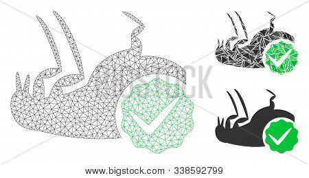 Mesh Flea Control Model With Triangle Mosaic Icon. Wire Carcass Triangular Mesh Of Flea Control. Vec
