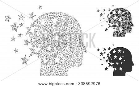 Mesh Star Mind Model With Triangle Mosaic Icon. Wire Frame Polygonal Mesh Of Star Mind. Vector Colla