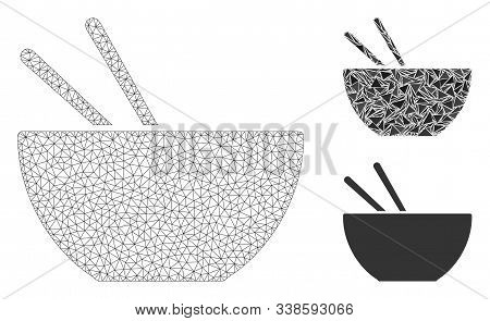 Mesh Asian Food Model With Triangle Mosaic Icon. Wire Carcass Polygonal Network Of Asian Food. Vecto