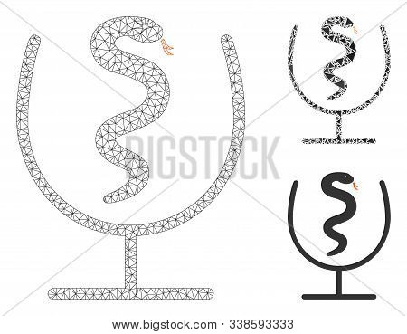 Mesh Snake Poison Model With Triangle Mosaic Icon. Wire Carcass Polygonal Mesh Of Snake Poison. Vect