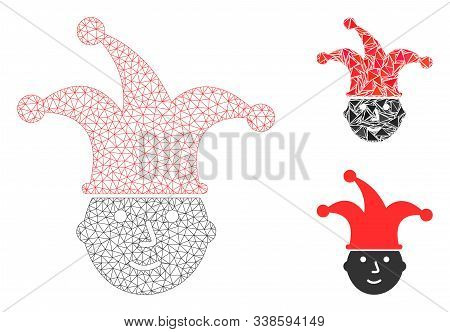 Mesh Clown Head Model With Triangle Mosaic Icon. Wire Carcass Polygonal Mesh Of Clown Head. Vector M