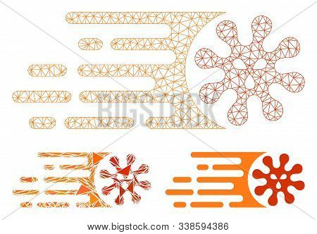 Mesh Gone Viral Model With Triangle Mosaic Icon. Wire Carcass Polygonal Mesh Of Gone Viral. Vector C