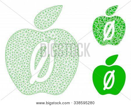 Mesh Zero Calories Apple Model With Triangle Mosaic Icon. Wire Carcass Polygonal Network Of Zero Cal