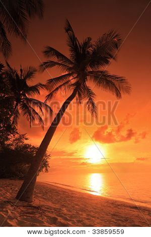 A beach scene with sunset in the background at Kuredu island, Maldives, Lhaviyani atoll