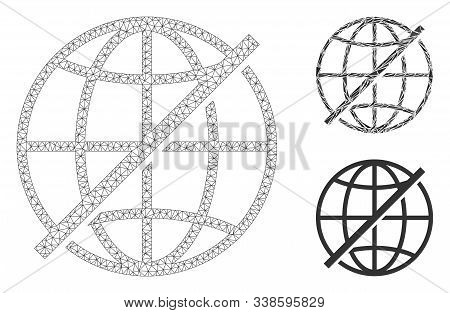 Mesh Not Global Model With Triangle Mosaic Icon. Wire Carcass Triangular Mesh Of Not Global. Vector