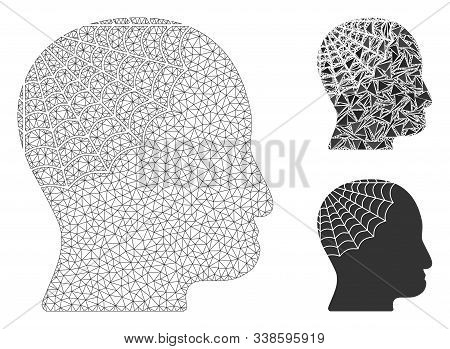 Mesh Conservator Head Model With Triangle Mosaic Icon. Wire Frame Polygonal Mesh Of Conservator Head