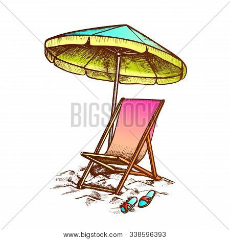 Deck Chair With Umbrella And Slippers Ink Vector. Relax Wooden And Fabric Chair, Parasol And Sneaker