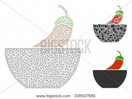 Mesh Spicy Food Model With Triangle Mosaic Icon. Wire Frame Triangular Mesh Of Spicy Food. Vector Mo
